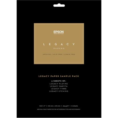 "Epson Legacy Paper Sample Pack, 8.5x11"", 16 Sheets (4 of Each)"