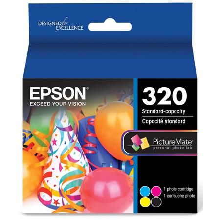 Epson 320 Standard-Capacity Color Ink Cartridge for PictureMate PM-400  Printer, Includes Black, Cyan, Magenta, Yellow Ink Cartridge