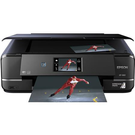 Epson Expression Photo XP-960 Wireless All-in-One Color Inkjet Printer, 8 5  ppm Black/8 0 ppm Color, 5760x1440 dpi, 100 Sheets Input Tray - Print,