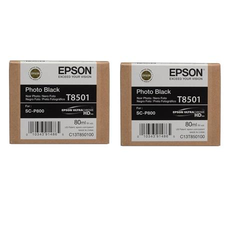 Epson 2x T850 Photo Black Inkjet UltraChrome HD Ink Cartridge for SureColor  P800 Printer, 80ml Capacity