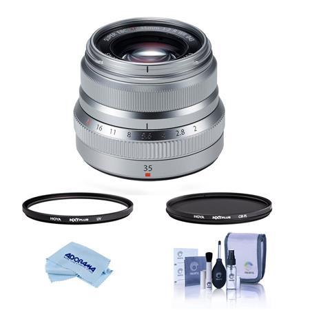 Fujifilm XF 35mm F/2 R WR Lens Silver W/Hoya 43mm HMC UV /CPL Filter