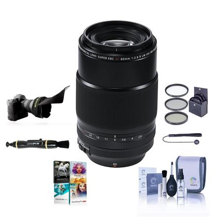 XF 80mm (122mm) F/2.8 R LM OIS WR Macro Lens, Black - Bundle With 62mm Filter kit, Flex Le