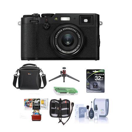 Fujifilm X100F 24 3MP Digital Camera, Fuji 32mm f/2 Lens, Black W/Acc Bundle