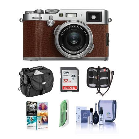 Fujifilm X100F 24 3MP Camera, Fujinon 23mm f/2 Lens, Brown With Free Acc  Bundle