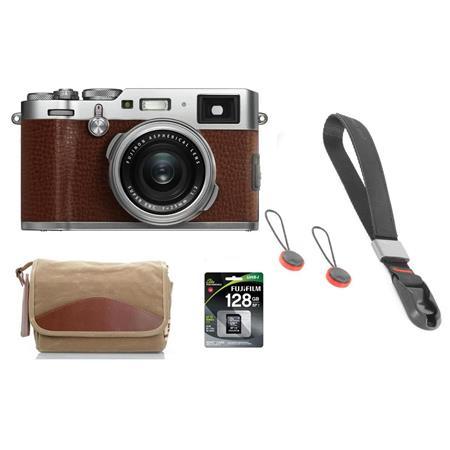Fujifilm X100F 24 3MP Digital Camera, Fujinon 23mm f/2 Lens Brown W/Fuji  Acc Kit