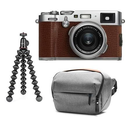 Fujifilm X100F 24 3MP Camera, Fujinon 23mm f/2 Lens Brown W/GorillaPod /  Case