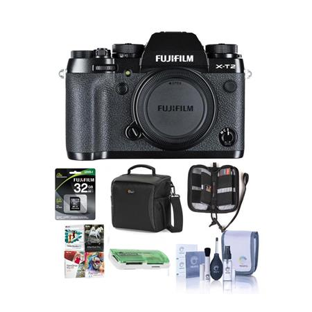 Fujifilm X-T2 Mirrorless Camera Body, Black - Bundle With Camera Bag, 32GB  SDHC U3 Card, Cleaning Kit, Memory Wallet, Card Reader, Software Package,