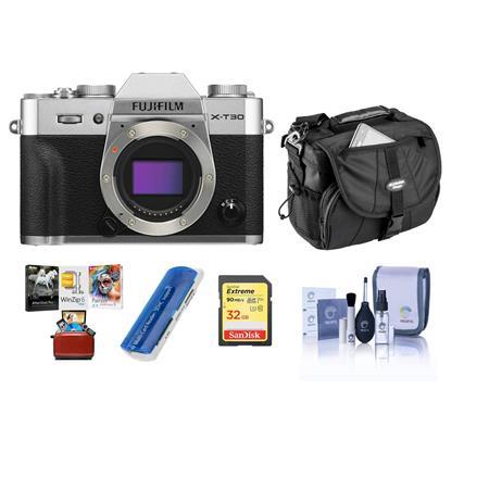 Fujifilm X-T30 Mirrorless Digital Camera Body Silver W/Free Mac Accessory  Bundle
