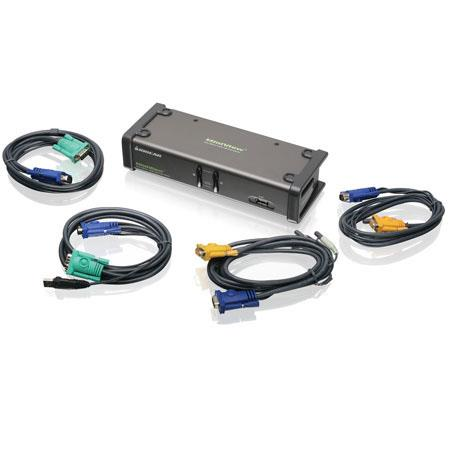 IOGEAR 2-Port Dual View KVM Switch with Cables