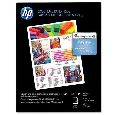 HP Glossy, Dual Sided Brochure & Flyer laserjet Paper, 5 mil , 8 5x11