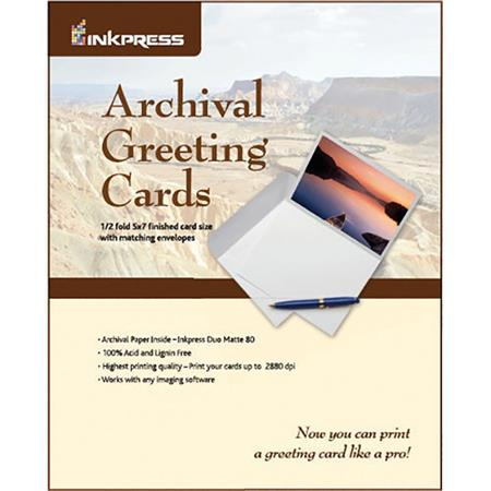 Inkpress Archival Greeting Cards For Inkjet 90x576 Scored Card Paper Produces 45 X 576 20 Sheets With Matching Envelopes