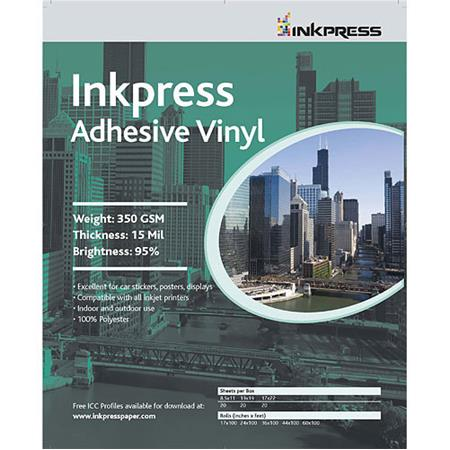 Inkpress Repositionable Adhesive Vinyl for Inkjet Printers, 8 mil, 17 x  22