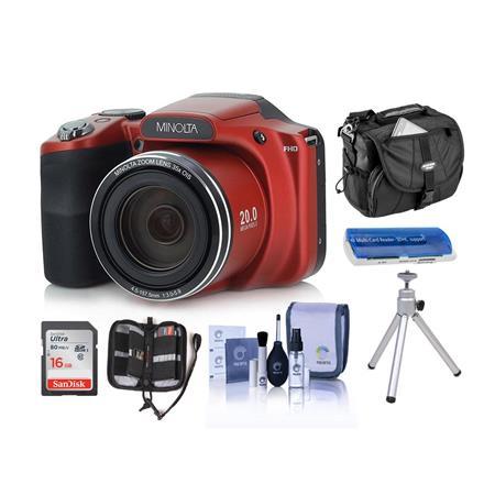 Minolta M35Z 20MP 1080p HD Bridge Camera with 35x Optical Zoom RED W/ACC KIT