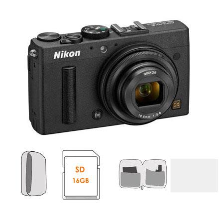 Nikon Coolpix A Digital Camera, 16 2 Megapixel - Bundle With LowePro Camera  Pouch, Lexar 16GB PLat  II SD/SDHC Card, Cleaning Kit, Screen Protecrtor