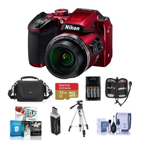 Nikon Coolpix B500 Dig Point & Shoot Camera and Premium Kit Red