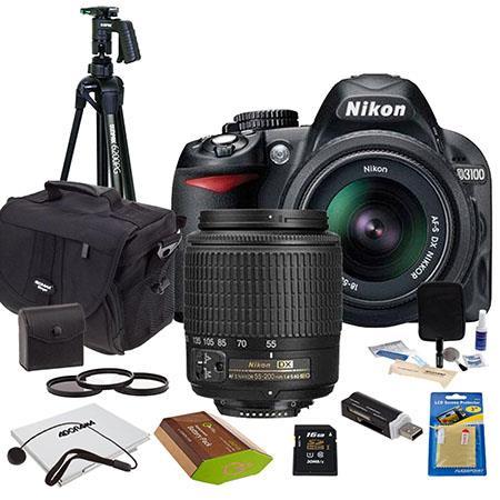 Nikon D3100 DSLR Camera with 18-55mm DX Lens & 55-200mm DX Lens,  Refurbished by Nikon U S A - BUNDLE - with Camera Bag, Tripod with  Ballhead, 16GB