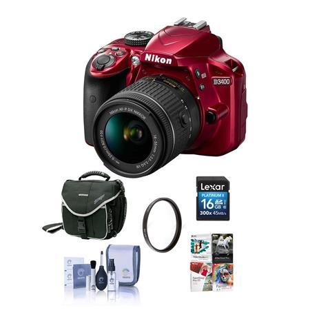 Nikon D3400 DX-Format DSLR Camera Body with AF-P DX NIKKOR 18-55mm  F/3 5-5 6G VR Lens, Red - Bundle with 16GB SDHC Card, Camera Bag, 55mm UV  Filter,