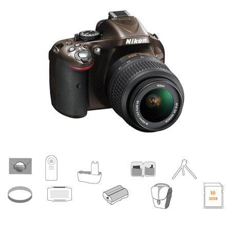 Nikon D5200 DX-Format DSLR Camera Kit with 18-55mm f/3 5-5 6G AF-S DX (VR)  Lens, Bronze - Bundle - With 32GB SDHC Memoru Card, Spare Battery, 52mm