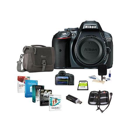 Nikon D5300 24 1 Megapixel DX-Format Digital SLR Camera Body, Gray - Bundle  with Camera Bag, 16GB Ultra SDHC CL10 Card, Cleaning Kit, Pro Software