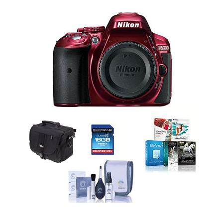 Nikon D5300 24 1 Megapixel DX-Format Digital SLR Camera Body, Red - Bundle  with Camera Bag, 16GB Class 10 SDHC Card, Cleaning Kit, Pro Software