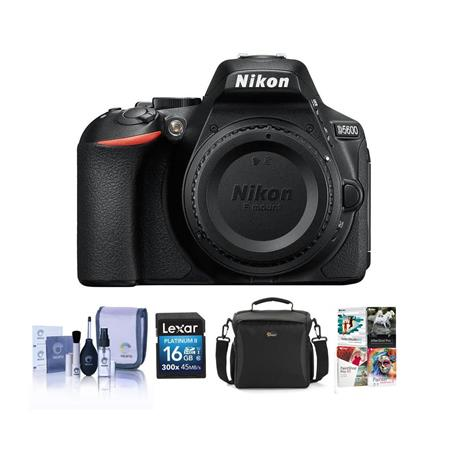 Nikon D5600 DSLR Camera Body, Black With Free PC Accessory Bundle