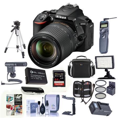Nikon D5600 DSLR Camera w/AF-S DX 18-140mm f/3 5-56G ED VR Lens W/Pro Acc  Bundle