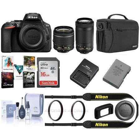 Nikon D5600 DSLR w/18-55mm f/3 5-5 6G VR\70-300/4 5-5 6 Black w/Free Acc  Bundle