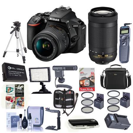 Nikon D5600 DSLR Camera w/18-55mm/70-300mm f/4 5-6 3G Lens Blk w/Pro Acc  Bundle