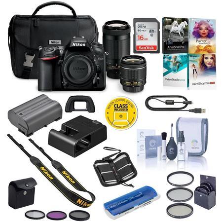 Nikon D7200 DSLR Camera Kit with AF-P DX 18-55mm f/3 5-5 6G VR Lens & AF-P  DX 70-300mm f/4 5-6 3G ED Lens - Bundle With 16GB SDHC Card, 55mm Filter