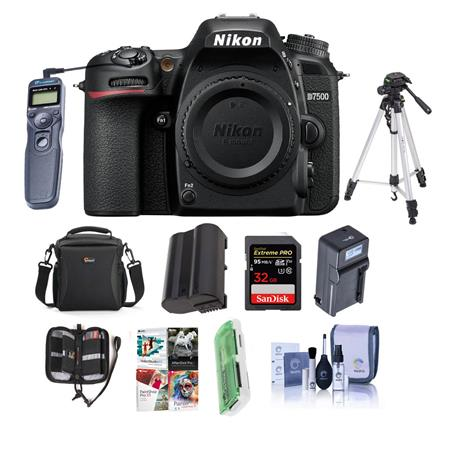 Nikon D7500 DSLR Body, Black - With Premium Accessory Bundle