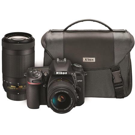 Nikon D7500 DSLR with AF-P DX NIKKOR 18-55mm VR & 70-300 ED VR Lenses &  Nikon Bag