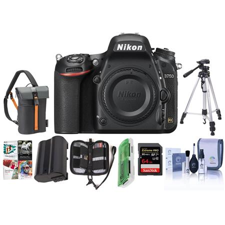 Nikon D750 FX-Format Digital SLR Body Only Camera with Premium Accessory Kit