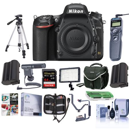 Nikon D750 FX-Format Digital SLR Body Only Camera with Pro Accessory Kit