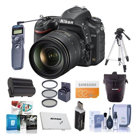 Nikon D750 DSLR Camera with AF-S 24-120mm f/4G ED VR Lens w/Premium Acc  Bundle