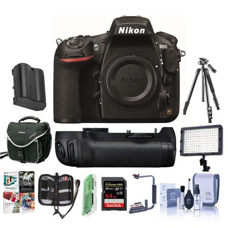 Nikon D810 DSLR Body - Bundle With Multi Battery Power Pack / Grip, Camera  Case, 64GB SDXC Card, Spare Battery, Tripod, Video Light, Cleaning Kit,