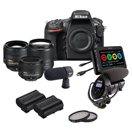 Nikon D810 DSLR Camera Filmmaker's Kit with 35mm f/1 8G ED, 50mm f/1 8G,  and 85mm 8G Lef/1 8G Lenses, Includes Atomos Ninja-2 Recorder, ME-1 Stereo