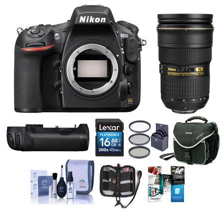 Nikon D810 DSLR Body with Nikon 24-70mm f/2 8G Lens/MB-D12 Grip w/Acc Bundle