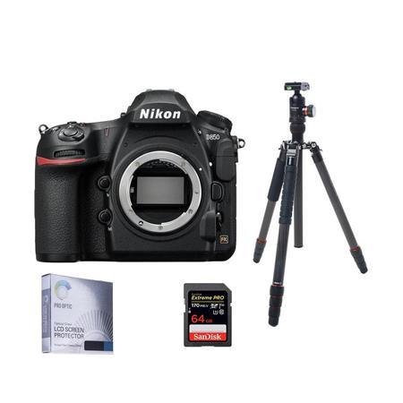 Nikon D850 DSLR Camera Body With FotoPro X-Go Max Carbon Fiber Tripod