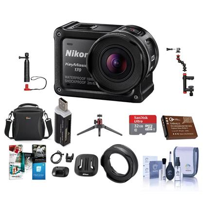 Nikon Keymission 170 Action Camera With Premium Accessory Bundle