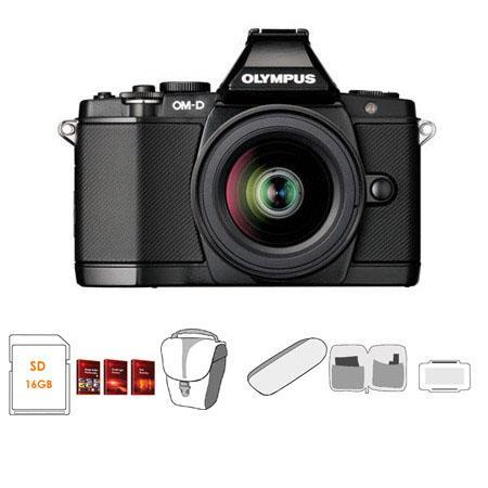 Olympus OM-D E-M5 Mirrorless Digital Camera - Black - with Olympus 12-50mm  f/3 5-5 6 EZ Zoom Lens - Bundle - with 16GB SD Memory Card, Camera Case,