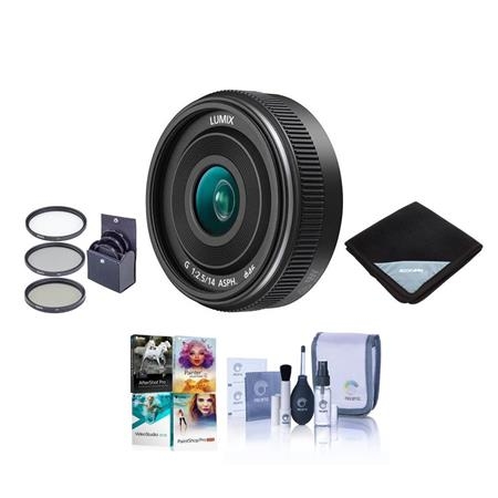 bb4d436b57a Panasonic H-H014A Lumix G 14mm, f/2.5 II Aspherical Lens for Micro Four  Thirds - Bundle With 46mm Filter Kit, Lens Wrap (15x15), Cleaning Kit, ...
