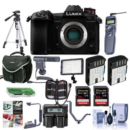 Panasonic Lumix G9 Mirrorless Camera Body, Black With Pro Accessory Bundle