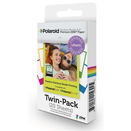 Polaroid Rainbow Border 2x3 Premium Zink Paper 20 Pack Polz2x320rb