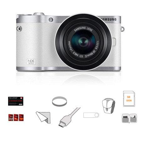 Samsung NX300 Mirrorless Digital Camera,20-50mm F/3 5-5 6 ED II Lens,  White/Silver, BUNDLE, w/Lexar 32GB 200x SDHC Card, Lens Cleaning Kit, MC UV