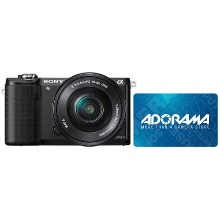Sony Alpha A5000 Mirrorless Digital Camera with 16-50mm E-Mount Lens, With  $25 Free Adorama Gift Card