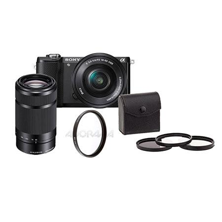 Sony Alpha A5000 Mirrorless Digital Camera with 16-50mm E-Mount Lens, Black  - Bundle With 55-210mm f/4 5-6 3 OSS E-mount Lens, 49mm Filter Kit, 40 5