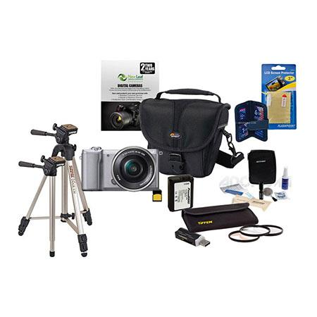 Sony Alpha A-5000 Digital Camera with 16-50mm E-MT Lens Silver - Bundle  With 32GB Cl 10 SDHC Card, LowePro Holster Case, Cleaning Kit, 40 5 Filter