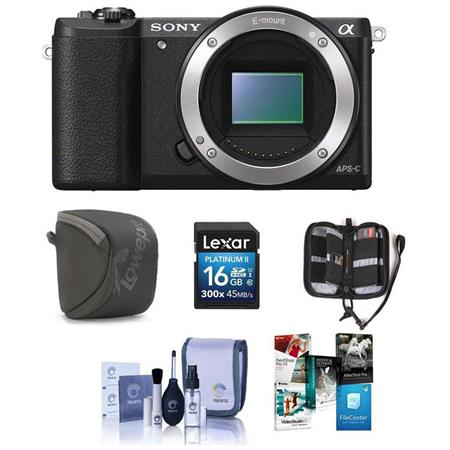 Sony Alpha A5100 Mirrorless Digital Camera Body, - Bundle with Camera Case,  16GB Class 10 SDHC Card, Cleaning Kit, Memory Wallet, PC Software Package