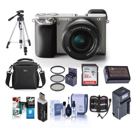 Sony Alpha A6000 Mirrorless Camera w/16-50mm Lens Kit Graphite W/Premium  Bundle