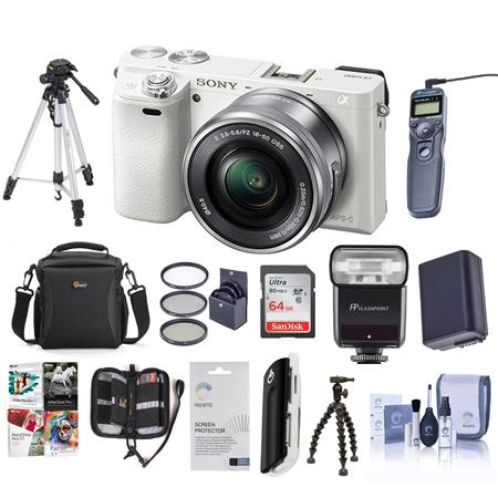 Sony Alpha A6000 Mirrorless with 16-50mm OSS Lens White and Pro Accessory  Kit